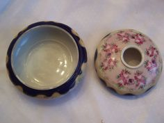 Image detail for -Flow Cobalt Blue & Hand Painted Victorian Style Hair Receiver