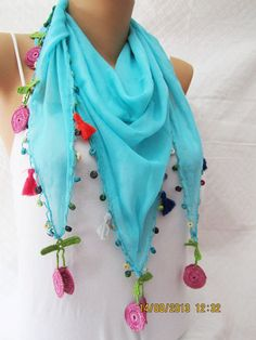 Blue Scarf  Lace Scarf with Red Green Pink Tassel by MaxiJoy, $14.00