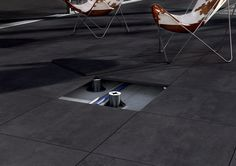 Sassuolo Creation Black Exterior 2cm Thick Porcelain Tile on Pedestal System.