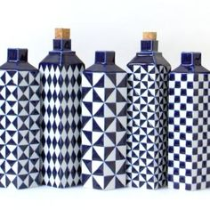 Gorgeous blue and white vases by dutch ceramist Corien Ridderikhoff