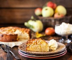 Fresh homemade delicious apple cake photo by KateSmirnova on Envato Elements Sin Gluten, Sem Lactose, Apple Cake, Greek Recipes, Coco, Camembert Cheese, Biscuits, Bakery, Muffin