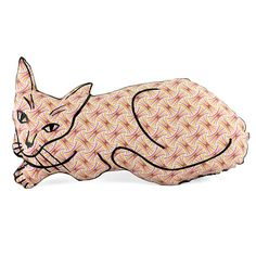Relaxed cat shaped pillow yellow orange purple pinwheel fabric was created because I love to draw black line on vibrant colored fabrics. I want the