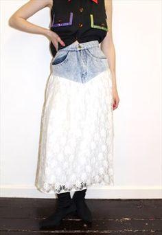 80s Vintage Lace Denim Skirt Midi Boho Punk Quirky Retro Denim Skirt, Lace Skirt, Midi Skirt, Denim And Lace, Vintage Lace, Festival Fashion, Vintage Outfits, Punk, Boutique