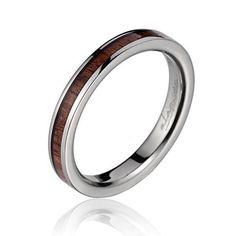 Keala Womens Titanium Ring With Genuine Koa Wood Inlay - 3mm - Select Wedding Rings