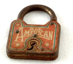 old rusty All American vintage antique lock by FindingBrooke, $100.00