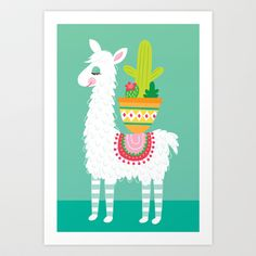 Alpaca and Cactus Art Print by lauramayes - $18.00