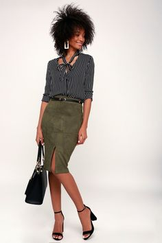 1346d4ce62 Slay your look in the Lulus Total Allure Olive Green Suede Pencil Skirt!  Microfiber vegan