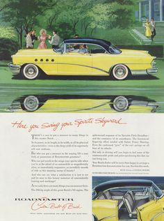 1955 Buick Roadmaster Classic Car Ad Vintage by AdVintageCom