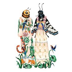 In the whimsical illustrations of Thai artist Phannapast Taychamaythakool, animals are posed in the most gorgeous clothes imaginable. The entire illustration is bursting at the seams with floral details and patterns, transporting us to a magical, very well dressed fairytale world where animals have access to the latest runway shows. — Tatiana Berg