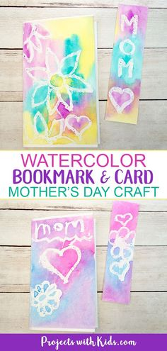 Mothers Day Crafts For Kids Discover Mothers Day Bookmark & Card Watercolor Project for Kids This Mothers Day bookmark and card set is such a lovely handmade gift idea for kids to make! A super easy watercolor technique for kids of all ages! Diy Gifts For Mothers, Mothers Day Crafts For Kids, Fathers Day Crafts, Crafts For Kids To Make, Mothers Day Cards, Kids Diy, Kids Crafts, Diy Mother's Day Crafts, Mother's Day Diy