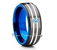 GUNMETAL Black Tungsten Band,Tungsten Carbide Ring,Men's Tungsten Band,Anniversary Ring,Engagement Band,8mm Tungsten Ring,Aquamarine Ring