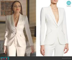 Wool Blazer by Alexander McQueen worn by Fallon Carrington (Elizabeth Gillies) on Dynasty Classy Business Outfits, Business Professional Outfits, Classy Outfits, Business Suits, Business Formal, Professional Women, Fashion Tv, Suit Fashion, Fashion Outfits
