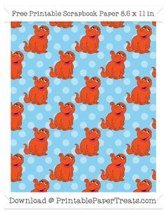 Free Baby Blue Polka Dot Large Snuffy Pattern Paper - Sesame Street