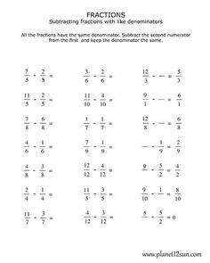 √ Adding and Subtracting Fractions with Like Denominators Worksheets Pdf . 26 Adding and Subtracting Fractions with Like Denominators Worksheets Pdf . Fractions Worksheets Grade 4, Free Fraction Worksheets, 4th Grade Fractions, Free Printable Math Worksheets, Subtraction Worksheets, Free Printables, Fraction Games, Fraction Art, School
