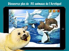 JEU - Application sur tablette Pôle Nord : Aventures d'Animaux pour les Enfants - Découvrez plus de 40 animaux de l'Arctique dans 3 entourages différents avec des faits intéressants. Livre d'images interactif avec une manipulation facile pour les enfants. Encyclopédie sonore complète avec des informations sur tous les animaux et plantes