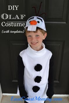 DIY Olaf from Frozen Costume Create this Halloween costume for less than $10 AND no sewing! Your kids will be so excited to have an Olaf costume this year!