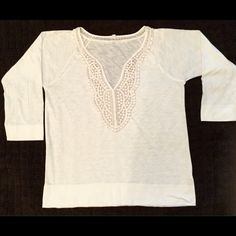 J Crew Ivory top EUC   Ivory top with nice trim around neckline. Three quarter sleeves, 60% cotton and 40% polyester, Perfect for summer. J. Crew Tops Tees - Short Sleeve