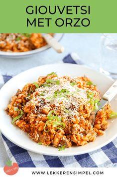 Diner Recipes, Greek Recipes, Garlic Parmesan Potatoes, Good Food, Yummy Food, Happy Foods, Mediterranean Recipes, Pasta Recipes, Risotto