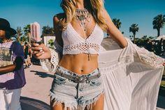 Crochet Denim Festival Style at Coachella 2016 shot by Driely S.| Spell Blog