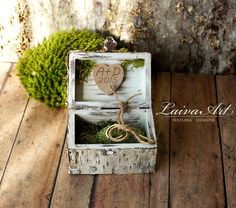 Rustic / Personalized / Wedding / Ring bearer box / Ring Pillow / Box / Birch Bark - pinned by pin4etsy.com