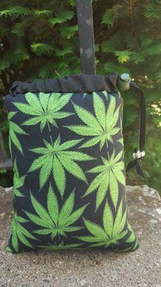 Size Large Pipe Bag Cannabis Marijuana Leaf Leafs Black