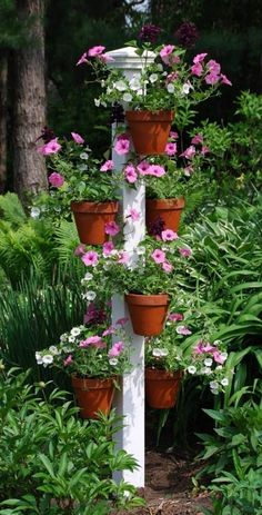 Orchid Flower Pole This three-foot pole with clay pot hangers is a great addition to any space and makes a perfect orchid hanger. Order your Hang-A-Pot flower pole now! The post Orchid Flower Pole appeared first on Design Diy. Garden Yard Ideas, Diy Garden Projects, Garden Planters, Garden Pallet, Pallet Fence, Diy Fence, Fence Ideas, Easy Garden, Balcony Garden