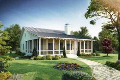 Retirement House Plans, Porch House Plans, House Plans One Story, Cottage House Plans, Small House Plans, Cottage Homes, Cottage Ideas, Farm House, Tiny House