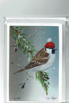 Grüße - Grußkarte - Spatz im Schnee, handgemalt - ein Designerstück von…