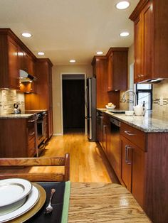 Open and spacious galley kitchen.Photo, Tom & Jeannine Dealy