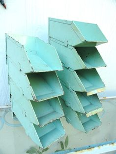 I need these chippy aqua boxes for my art room!