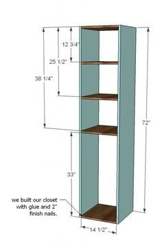 Custom closet system. Build the towers and install the rods in between. Also has plans to build drawers into the towers.