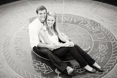 Engagement photos on Baylor seal. Ashley Munn Photography.
