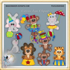 Circus animals birthday party clipart digital by MagicmakerScraps,