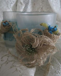 Burlap Wrapped Large Frosted Votives Set of 2 by ITIZWHATITIZ, $14.00