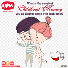 Rakhi is the festival to cherish all cute little childhood memories that every sibling has. What is your favourite sweetest memory you have with your sibling? Tell us in the comment section😃 #omsweets #siblinove #rakhi #sweetmemories #childhoodmoments #festivals Sweet Memories, Childhood Memories, Om Sweets, Rakhi, Sibling, Festivals, Family Guy, Cute, Anime
