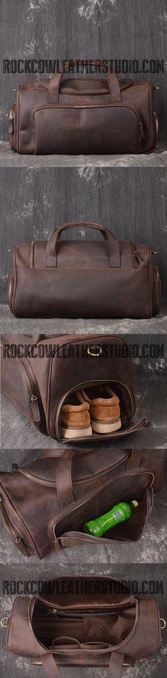 Large Full Grain Leather Gym Bag, Vintage Travel Bag, Duffle Bags LJ1081
