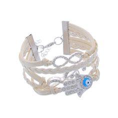 Boho Nomad White Braided Leather Cuff Bracelet with Rhinestone Khamsa + Musical Note Charms