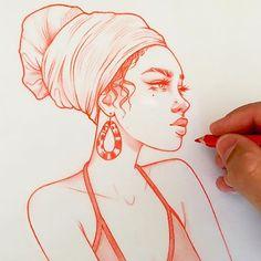 Schlag des Herzens: die Zeichnungen in Rot von Rik Lee Girl Drawing Sketches, Pencil Art Drawings, Realistic Drawings, Cartoon Drawings, Kpop Drawing, Drawing Girls, Drawing Faces, Tattoo Sketches, Rik Lee