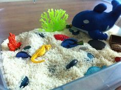 DIY you're gonna want to try: an ocean-themed sensory bin | Offbeat Mama.   Super-easy activity to get preschoolers using marine animal vocabulary, acting out stories set under the sea, using water vocabulary...