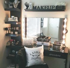 "vanity that is perfect fucking awesome. I personally wouldn't spell out ""makeup"" but maybe the letter of my last name or phrase. Love the idea though!"