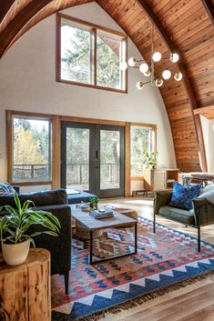 Scandinavian modern a-frame cabin living room in Washington - design by Copeland + Co. A Frame Cabin, A Frame House, My Living Room, Living Room Interior, High Ceiling Living Room Modern, Modern Living, Modern Cabin Interior, Rustic Modern Cabin, Small Cabin Interiors