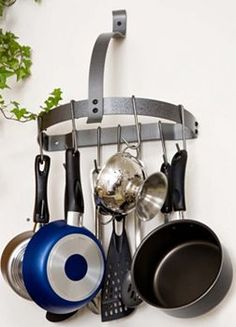 RACK IT UP! pot racks at Kohl's - This RACK IT UP! pot rack features a half-moon, wall-mount design and a steel construction. Kitchen Organization, Kitchen Storage, Pot Hooks, Pots, Pan Rack, Wall Racks, Shelf Wall, Shelves, Organizer