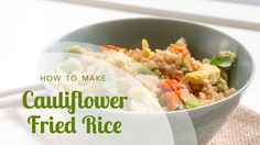 So good and flavorful, your family won't even know it's not rice! How to Make Cauliflower Fried Rice: Vegetable Fried Rice with Edamame an. Califlower Fried Rice, How To Make Cauliflower, Vegetable Fried Rice, Family Meals, Family Recipes, Cooking Recipes, Healthy Recipes, Sugar Free Recipes, Edamame