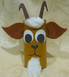 Good for Three Billy Goats Gruff - Toilet Roll Goat New Year's Crafts, Family Crafts, Crafts For Kids, Arts And Crafts, Toilet Roll Craft, Toilet Paper Roll Crafts, Diy Paper, Nursery Rhyme Crafts, Nursery Rhymes