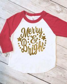 Kids Christmas shirt, kids christmas raglan, Merry and Bright shirt, christmas shirt kids, christmas raglan, gold christmas shirt by ShopHartandSoul on Etsy https://www.etsy.com/listing/471447796/kids-christmas-shirt-kids-christmas