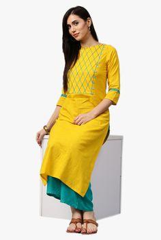 Jaipur Kurti Yellow & Green Textured Kurta With Palazzo