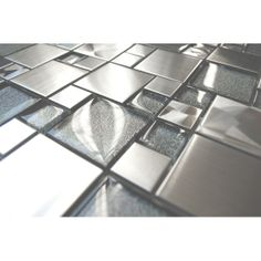 Modern Cobble Stainless Steel With Silver Glass Tile
