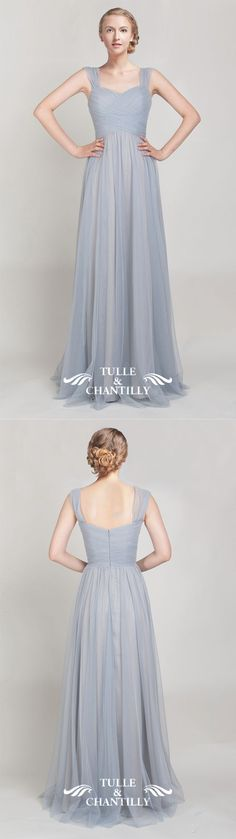 tulle light grey bridesmaid dresses with straps