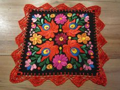 "Hungarian Hand Embroidered Matyo Doily Floral Black Tablecloth 10.2""x10.2""  