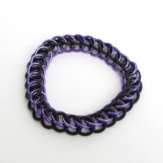 Purple and black Half Persian 3 in 1 stretchy chainmaille bracelet, $16.00